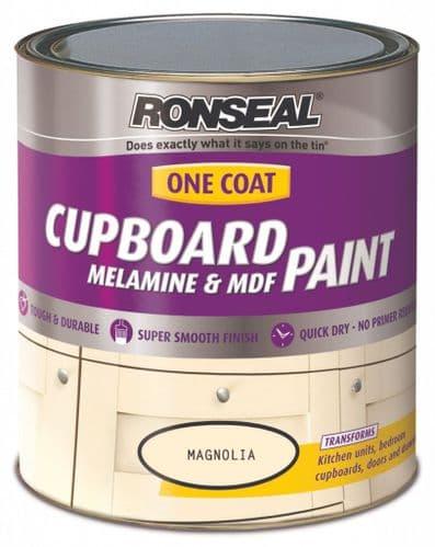 Ronseal One Coat Cupboard Melamine & MDF Paint 750ml - Magnolia